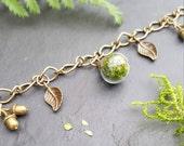 Green Moss Terrarium Bracelet, Charm Bracelet, Real Plant, Botanical bangle, Terrarium Accessories, Bracelet, Gift For Her, Forest Fashion