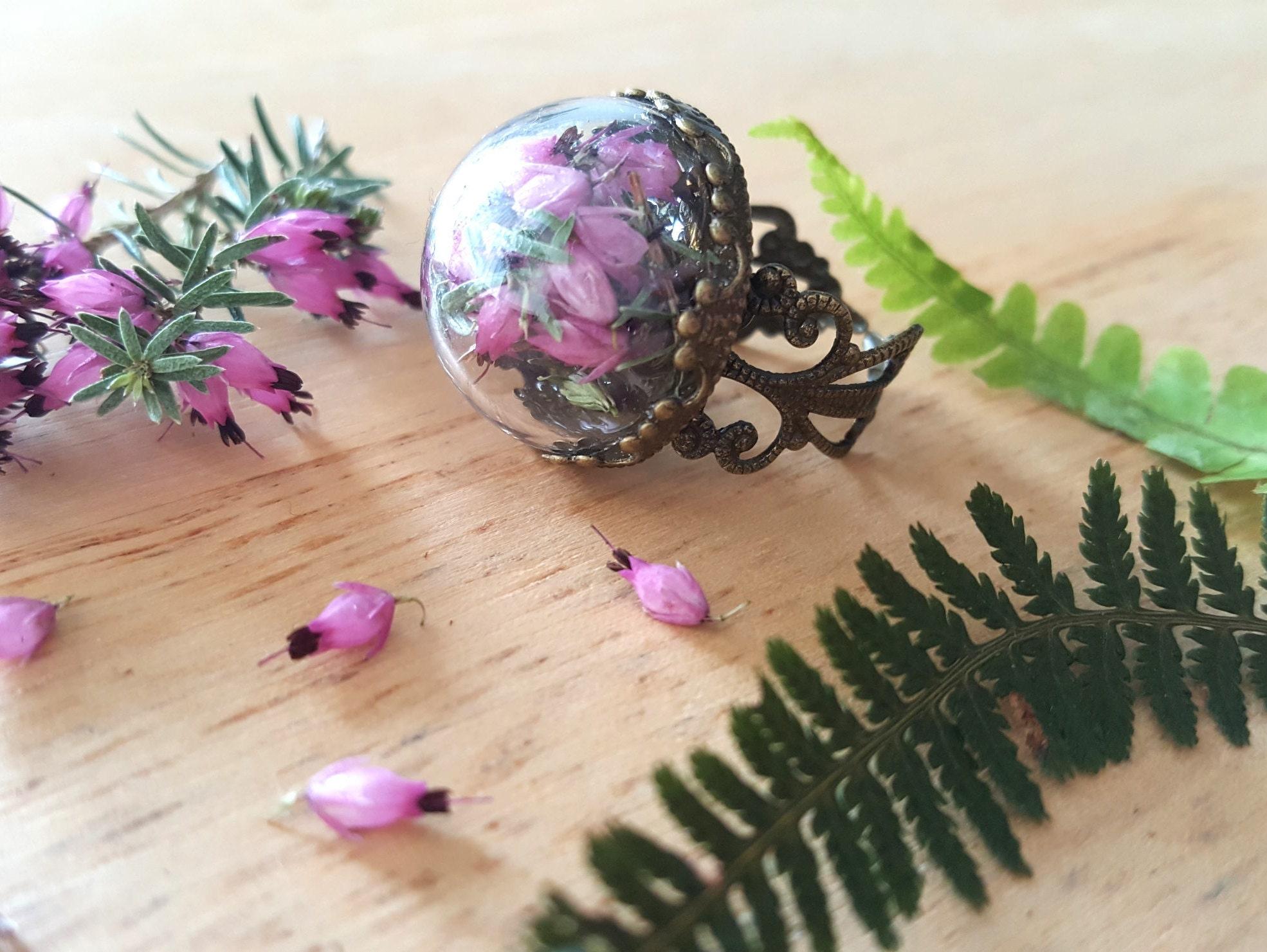 echte lila meliert ring getrocknete blumen terrarium ring etsy. Black Bedroom Furniture Sets. Home Design Ideas