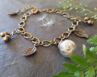 Dandelion Bracelet, Wish Terrarium, Charm Bracelet, Dandelion Seed, Bridesmaid Gift, Dried Flower, Bracelet, Gift For Her, Lucky, Accessory