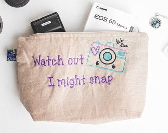 Personalized pouch for Photographer, Small Supply Bag for Photographer, Cosmetic Case, Make-up Holder, Whimsical Camera bag
