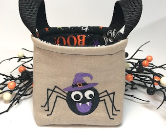 Small Trick or Treat bag,  Halloween linen fabric bin with embroidered spider.