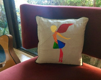 Rainbow Fairy Quilted Pillow
