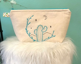 Cactus Moon zipper pouch