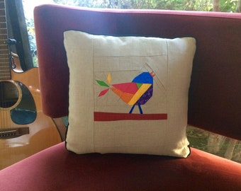 Rainbow Songbird Quilted Pillow