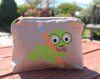 Teacher Appreciation Zipper Bag - Pencil Case -Bookworm with Big Ole Pencil