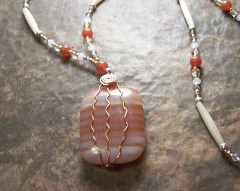 Orange and White Sunset Banded Agate Harmony Stone Lifeforce Energy Protective Amulet by shamanic healing artist, Azurae Windwalker