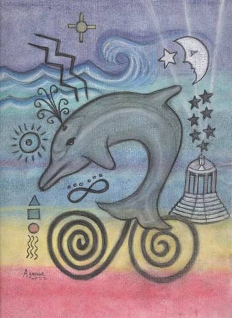 Dolphin Totem Healing Petroglyph Portrait  Sound Touch and image 0
