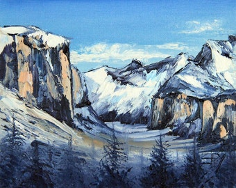 Custom Yosemite Painting, Yosemite National Park, Yosemite Art, California Landscape, Original Oil, Palette Knife, California Art, 12x12