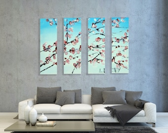 Cherry Blossom Painting, Custom, Commission, Made to order, Large 48x36, Cherries, Cherry Tree. Four Panel Quadtych Artwork by Lisa Elley