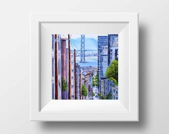San Francisco Print, San Francisco Art, Giclee, Cityscape, 8x8, 10x10, 12x12, Print Urban Streets, Modern, Art Print, San Francisco Painting