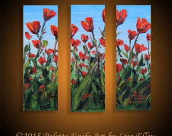 Poppy Art, Painting, Custom, Commission, Made to order, Large 36x36, Red Poppies, Impasto Texture Three Panel Triptych Artwork by Lisa Elley