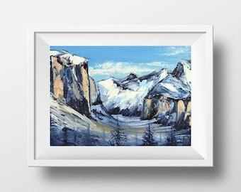 California Yosemite Print, Giclee Print, Landscape Art, 8x10, 11x14, 12x16 Original Modern Artwork in oil by San Francisco Artist Lisa Elley