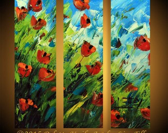 Poppy Art, Painting, Custom, Commission, Made to order, Large 36x36 Red Poppies, Impasto Texture Three Panel Triptych Artwork by Lisa Elley