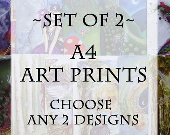 Set of 2, A4 Art Print, Faerie Art, Goddess Art, Art Prints, Choose any 2 designs