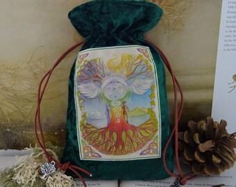 World Tree Tarot Card Bag ~ Green Velvet