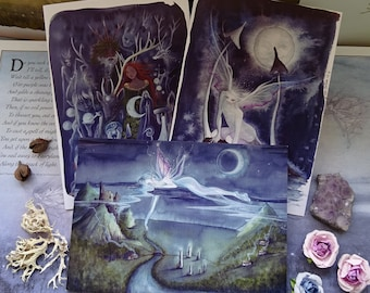 Moonlit Night pack of 3 A5 Art Cards