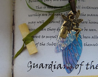 Iridescent Fairy Wing Pendant with Believe Faerie Charm