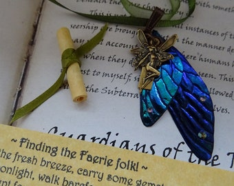 Blue Fairy Wing Pendant with Believe Faerie Charm