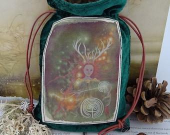 Elen of the Ways Tarot Card Bag ~ Green Velvet