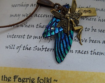 Blue Fairy Wing Small Pendant with Believe Faerie Charm