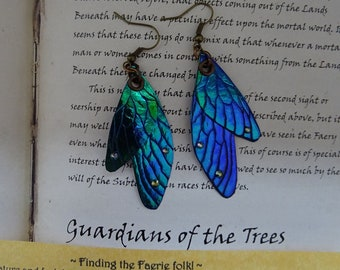 Shimmering Faerie Wing Earrings ~ Blue