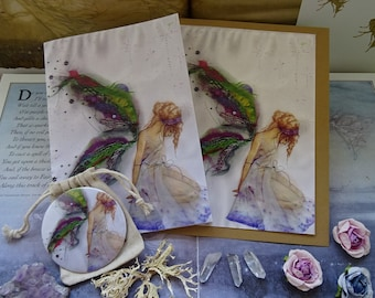 Fabric Faerie ~ Notebook, Card  & Pocket Mirror Set Set