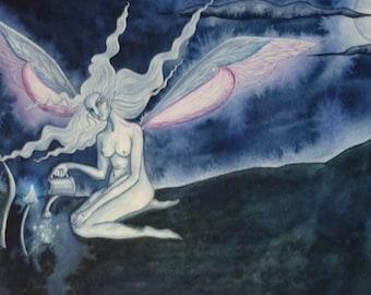 Moon Magic ~ Original Watercolour Painting, faerie Art, Moon Fairy, Mushrooms, Moon, Toadstools, Trippy Art