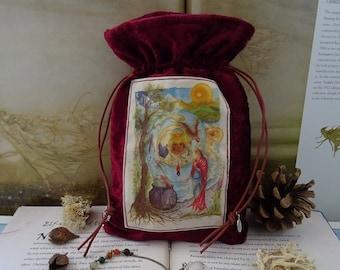 Cerridwen's Spell Handmade Tarot Bag ~ Red Velvet