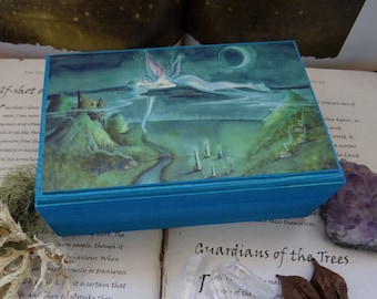 Jewellery Box, Trinket Box, Wooden box, Storage box, Faerie Art,  Fairy box, Spiritual Gift, Magical box, Essential Oils, Crystals, Adrift