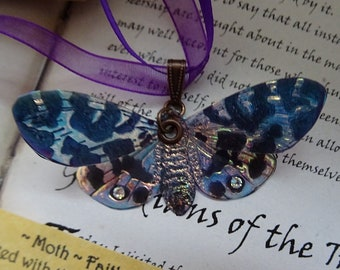 Shimmering Lunar Moth Ribbon Necklace