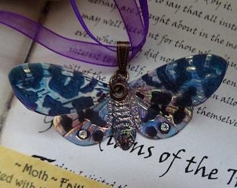 Magical Lunar Moth Ribbon Necklace ~ Iridescent