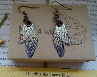 Small Fairy Wing Earrings ~ Iridescent