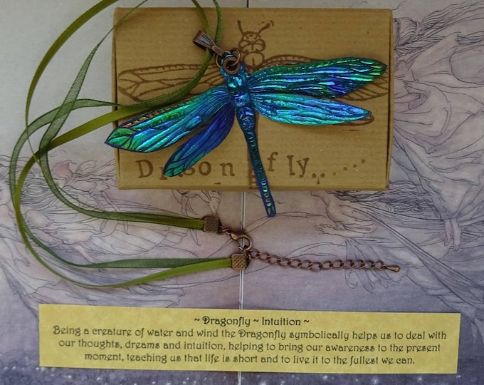 Featured listing image: Shimmering Dragonfly Ribbon Necklace ~ Electric Blue