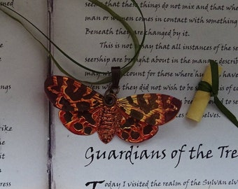 Moth Ribbon Necklace ~ Flame