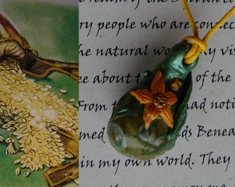 Elen's Gold ~ Rainbow Jasper and Amber Pendant