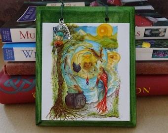 Cerridwen's Spell ~  Hanging Wooden Gemstone Art Plaque