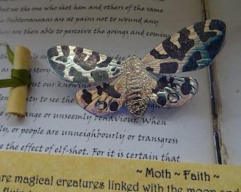 Shimmering Moth Brooch ~ Iridescent
