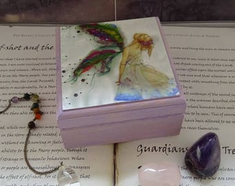 Fabric Faerie Wooden Box ~ Jewellery Box