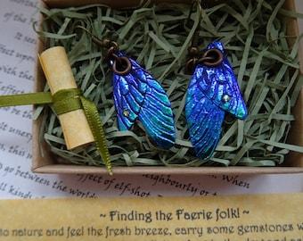 Small Fairy Wing Earrings ~ Shimmering Blue