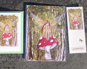 Woodland Wish Notebook, Handmde Bookmark and Card Set