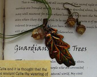 Autumn Oak Leaf Necklace and Acorn Earring Set
