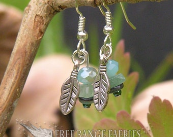 Gemstone Earrings, Feather Earrings, Amazonite Earrings, Swarovski Earrings, Sea Green, Ocean Shimmer, Blue Earrings, Ocean Feather