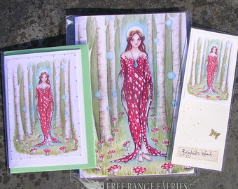 Brighid's Wood Notebook, Handmade Bookmark and Card Gift Set