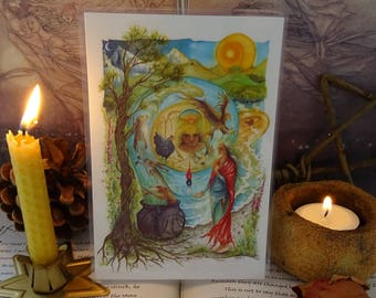 Cerridwen's Spell ~ Mini Laminated Art Print