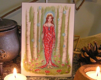 Brighid's Wood, Mini Print, Goddesss Brighid, St Bridget, Goddess Altar, Toadstool, Forest, Woodland, Mushroom, Pagan, Woodland, Goddess Art