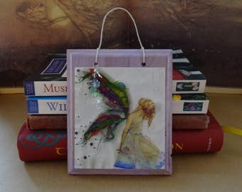 Fabric Faerie ~ Hanging Wooden Gemstone Plaque