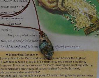 Elen's Gold Pendant ~ Rainbow Jasper, Amber & Garnet pendant