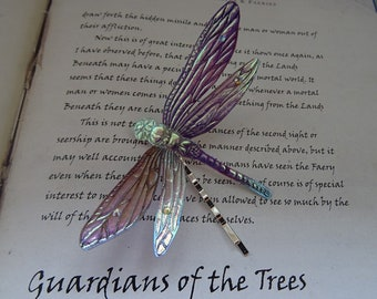Shimmering Dragonfly Hairpin ~ Iridescent