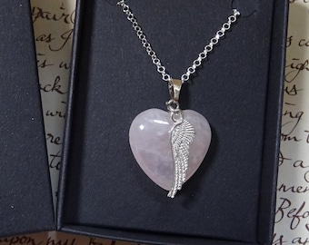 Angel Heart Rose Quartz Pendant