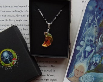 The Silver Wheel ~ Swarovski Crystal Moon Pendant and Mini Art Print Set